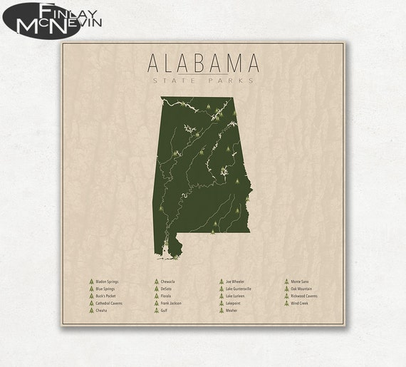 ALABAMA PARKS State Park Map Fine Art Photographic Print for | Etsy