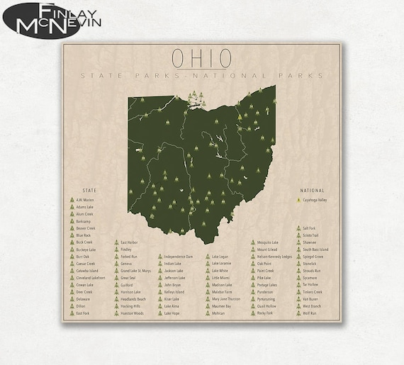 State Parks Ohio Map.Ohio Parks National And State Park Map Fine Art Photographic Etsy