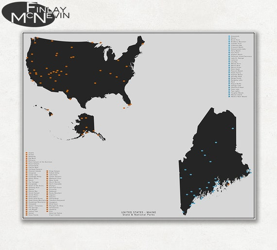 NATIONAL and STATE PARK Map of Maine and the United States | Etsy