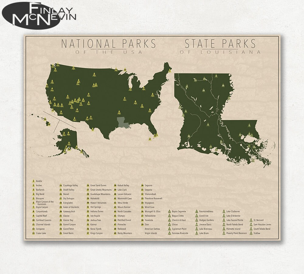 NATIONAL and STATE PARK Map of Louisiana and the United States, Fine Art  Photographic Print for the home decor