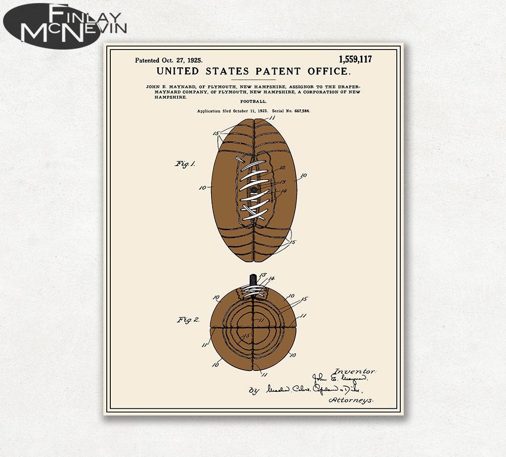FOOTBALL Patent Vintage Fine Art Print Poster Colour | Etsy
