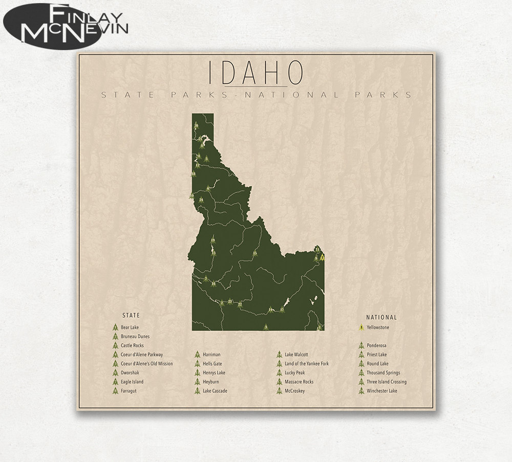 Winchester Idaho Map.Idaho Parks National And State Park Map Fine Art Etsy