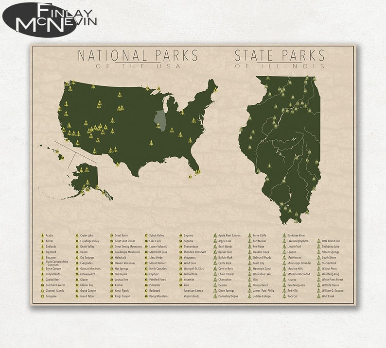 State Parks Illinois Map.National And State Park Map Of Illinois And The United States Etsy