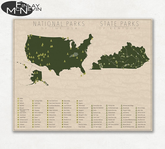 NATIONAL and STATE PARK Map of Kentucky and the United States, Fine Art  Photographic Print for the home decor.