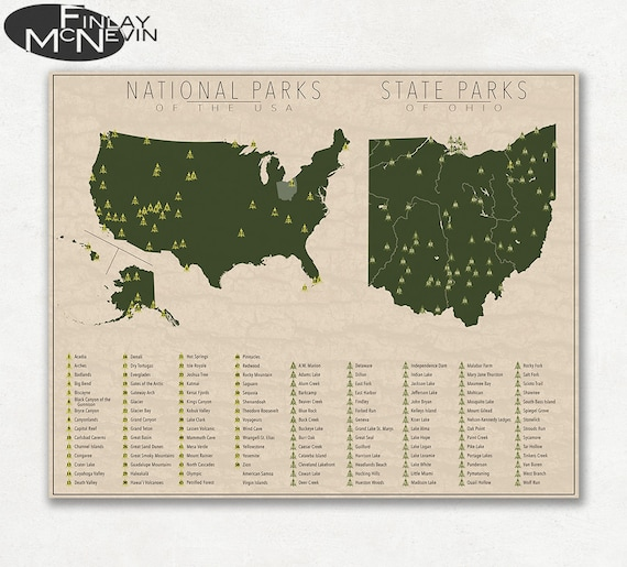 State Parks Ohio Map.National And State Park Map Of Ohio And The United States Etsy