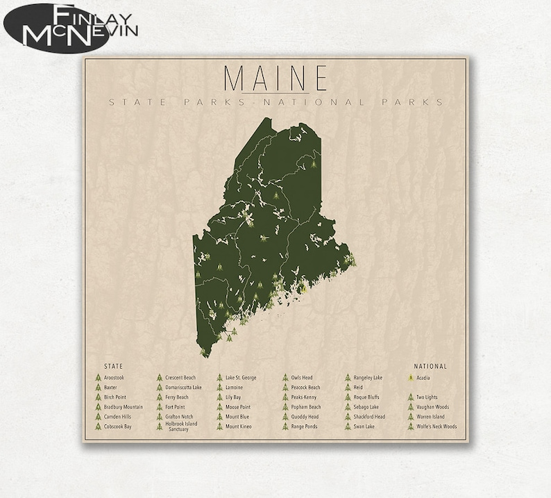 MAINE PARKS, National and State Park Map, Fine Art Photographic Print for  the home decor.