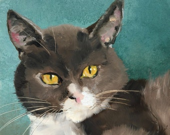 Grey cat, original oil painting on panel 15x15cm