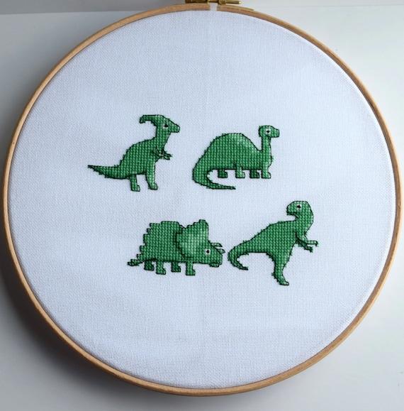 Green dinosaurs cross stitch pattern / cartoon dinosaurs cross stitch chart / cross stitch pattern PDF. Instant download.
