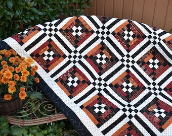 "Lap Quilt in Country Red, Burnt Orange, Black and White    46"" x 56"""