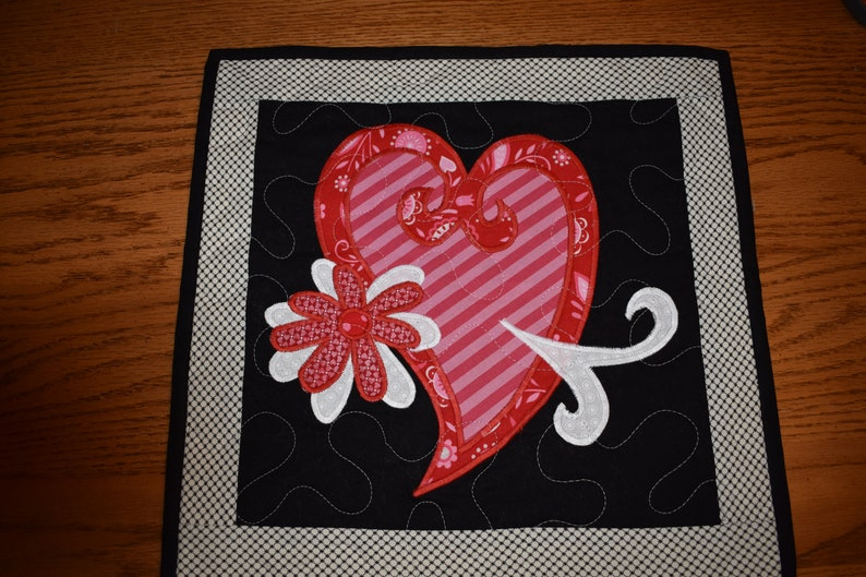 Mini Quilt with a Two Layered Heart and a Two Layered Flower   14 x 14