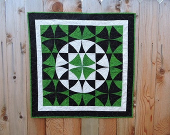 """Small Quilt with a Shamrock Design in the Center ...Winding Ways    31"""" x 31"""""""