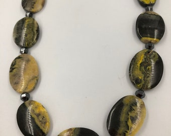 Bumble bee jasper in black and yellow oval beads - simple elegance
