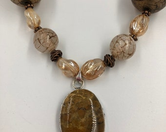 Contemporary bold necklace in bronze, golds and browns