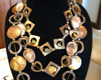 Bronze Mother of pearl mixture of shapes, wear alone or layer