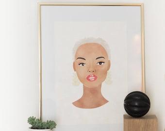 Black woman portrait illustration A4 print.Fulani