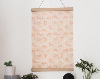 Wall hanging - Kakemono - pattern white hands - linen and cotton