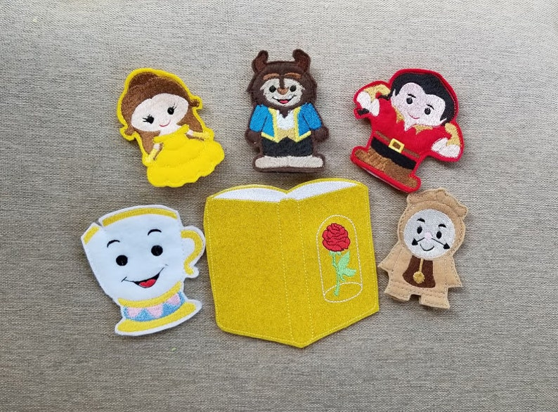 Chipped Cup Finger Puppet Set  FREE Storage Bag!! Beauty Gasto Clock Beast