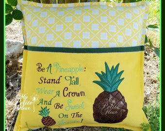 Pineapple Reading Pillow/ Pocket Pillow/ Book Pillow, Be Sweet, Crown