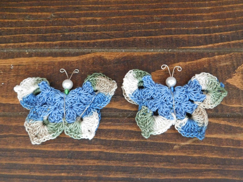 Crochet Butterfly Butterfly Ornaments Set of 2 Butterfly Pins Butterfly Magnets
