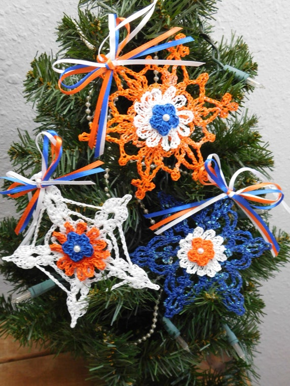 Crochet Snowflakes Denver Bronco Ornaments Denver Bronco Etsy