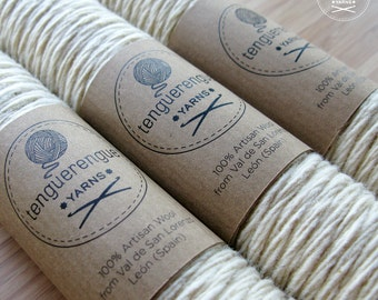 Artisan undyed wool. Natural white