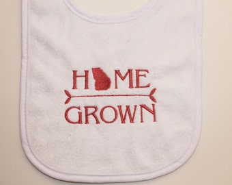 Home Grown Baby Bib, State Baby Bib, Home State Baby Bib