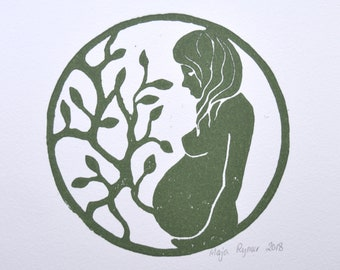 Pregnant // Linoprint