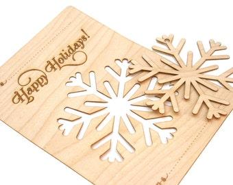wood snowflake ornament christmas card laser cut modern design great present - Laser Cut Christmas Cards