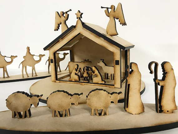Wood Christmas Manger Nativity Scene Diy Style Laser Cut Etsy