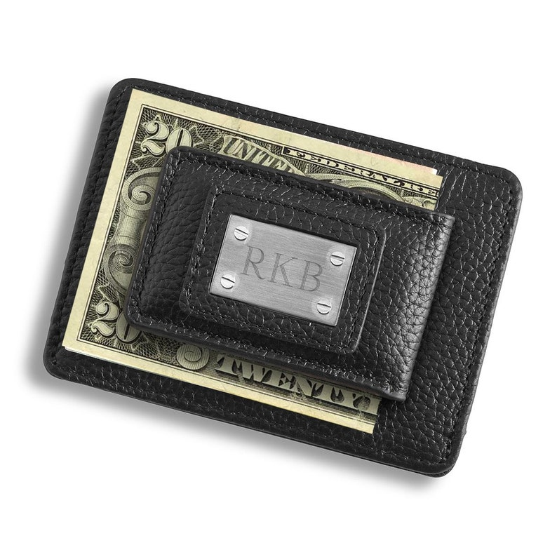 4a4da5693f92d Personalized Studded Leather Money Clip and Card Holder
