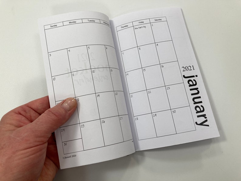 2021 Mini Printable Pocket Calendar Minimalist Style   Etsy