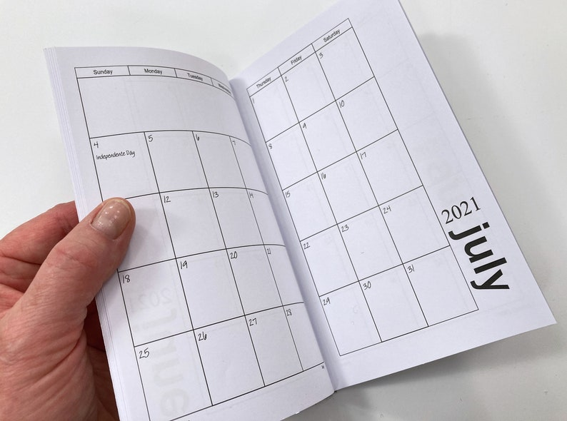 2021 Mini Printable Pocket Calendar Minimalist Style | Etsy