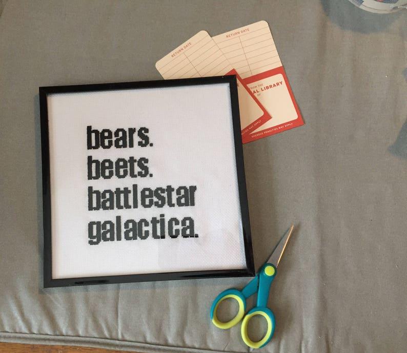 Bears Beets Battlestar Galactica Cross Stitch Custom Order