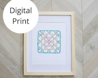 Crochet Granny Square Art Print 11x14, 8x10, 5x7, 4x6 sizes