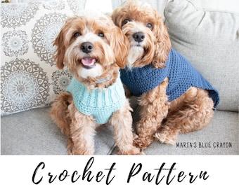 Crochet Dog Sweater Pattern, Easy Pullover Dog Sweater Pattern Sizes XS-XL PLUS custom fit tutorial