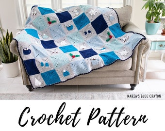 Crochet Winter Blanket Pattern, Winter Themed Granny Square Blanket, PDF Download
