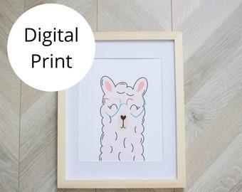 Pink Llama with Heart Glasses Wall Art Print 11x14, 8x10, 5x7 sizes