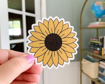 """Sunflower Yarn Ball Vinyl Sticker 3"""""""