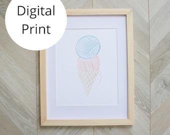 Yarn Ball Ice Cream Art Print 11x14, 8x10, 5x7, 4x6 sizes
