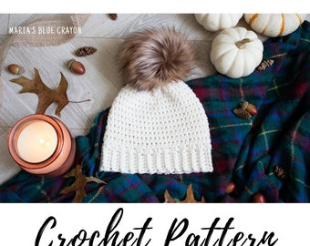 Crochet Hat Pattern, Basic Bottom Up Beanie Pattern in Any Size, Instant PDF Download
