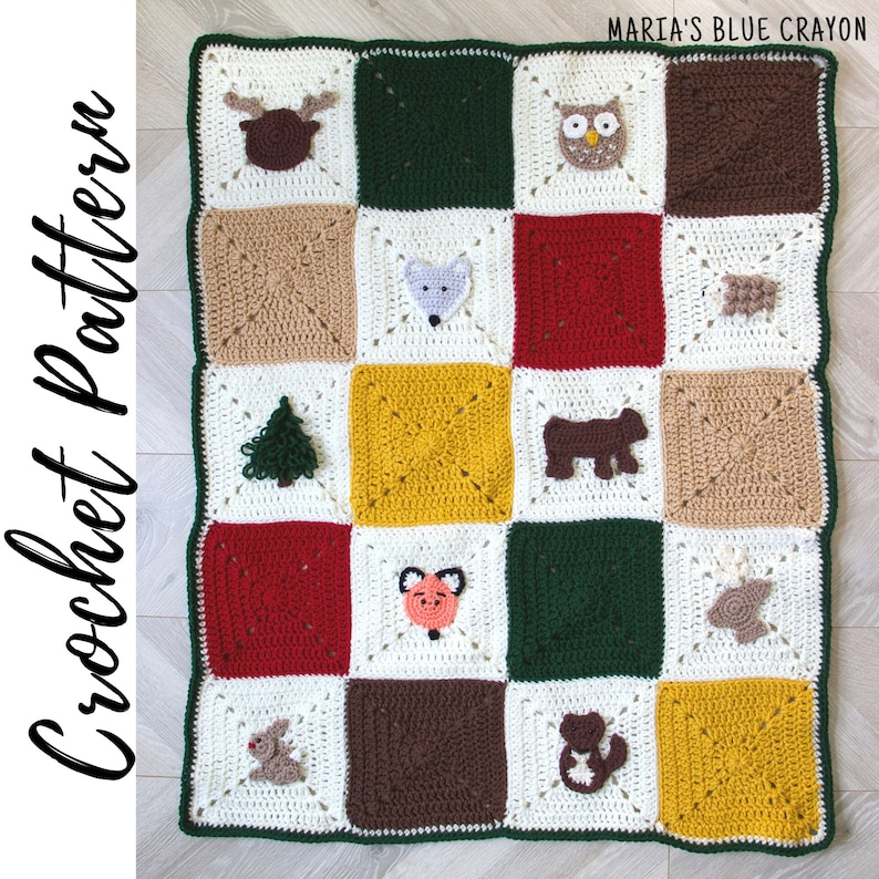 Croche Woodland Themed Blanket Pattern Throw Size and Baby image 0