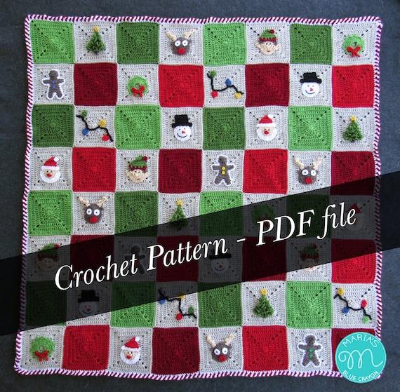 Crochet Pattern Christmas Blanket Granny Square Afghan Etsy