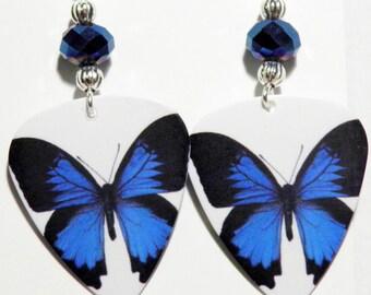 Blue BUTTERFLY F Guitar Pick Beaded Earrings - Handmade in USA