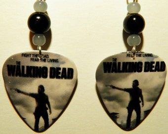The WALKING DEAD A-G tv Show Guitar Pick Beaded Earrings - Handmade in usa