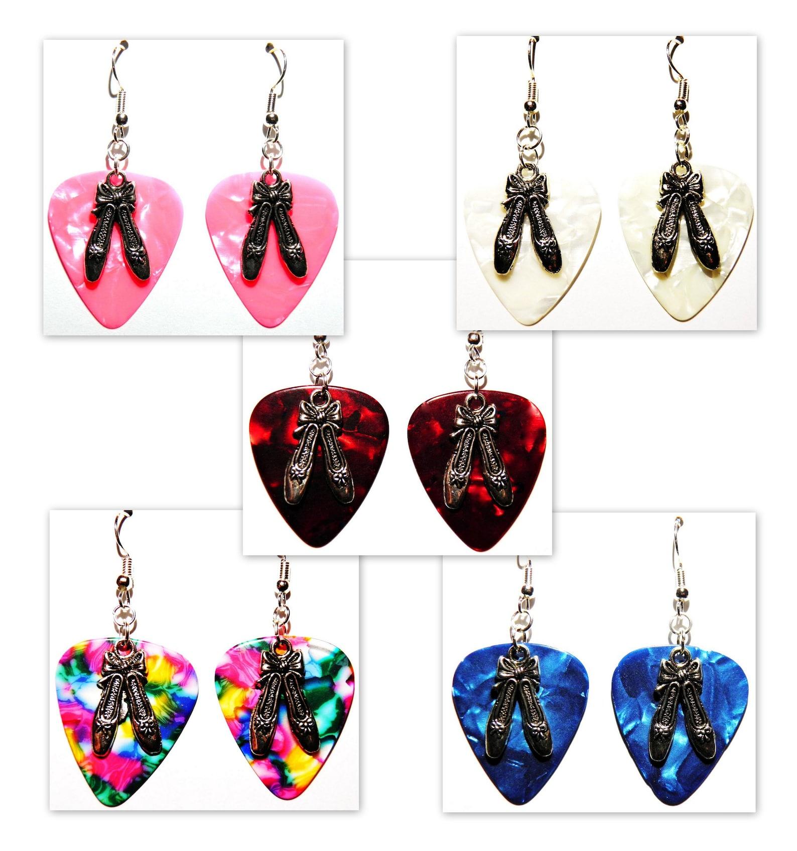 ballet shoes ballerina dancer charm guitar pick earrings - choose color - handmade in usa