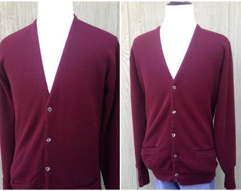 1970s 1980s Vintage Burgundy Red Mens Towncraft (JC Penneys) Cardigan  Sweater 0b6e8c753