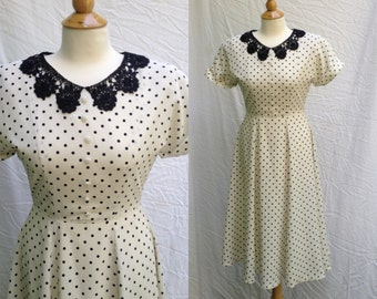 1980s does 1940s White and Black Polka Dotted Dress, fully lined, capped, cuffed sleeves, back lace collar, Probably a Modern S