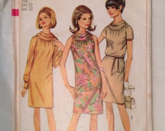1960s Simplicity Cowl Neck Dress Pattern 7338, Copyrighted 1967,