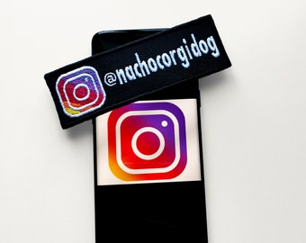 Custom Instagram account patch, 2 by 6 in. - Iron on, sew on or hook and loop patch - Perfect for clothes, bags, dog gears & more