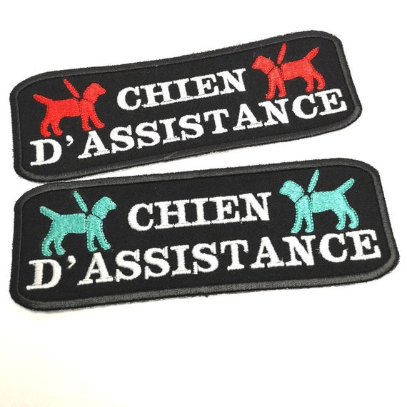 Patch Chien Dassistance In French For Service Dog Vest Service Dog Patch On Hook And Loop Male Backing Sew On Or Iron On